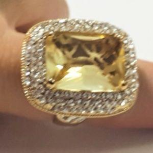 Huge Brighton Citrine RS Gold Finish Ring Size 10